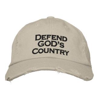 Defienda el gorra destressed país de DIOS Gorras Bordadas