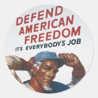 Defienda el poster americano de la guerra del pegatina redonda