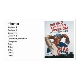 Defienda el poster americano de la guerra del tarjetas de visita