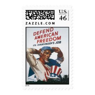 Defienda el poster americano de la guerra del vint sellos