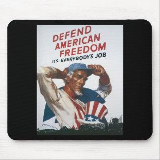 Defienda el poster americano de la guerra del vint tapete de raton