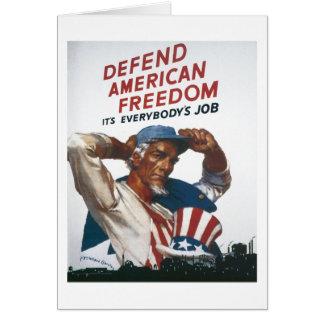 Defienda el poster americano de la guerra del vint tarjeta de felicitación