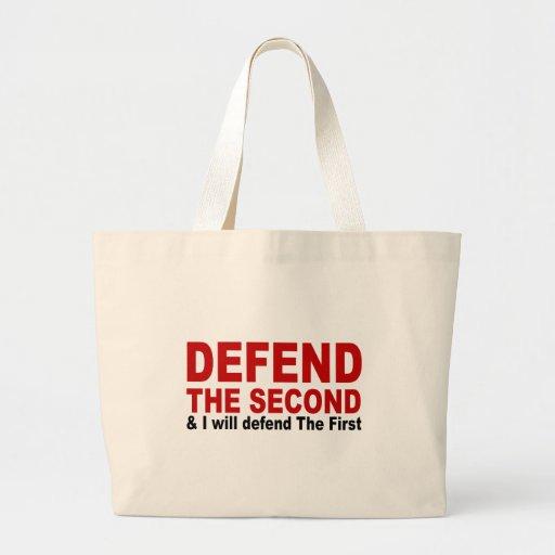 Defienda el segundo bolsa tela grande