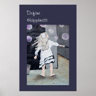Defina la felicidad, pintura de las burbujas del póster