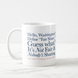 Defina la parte justa taza de café