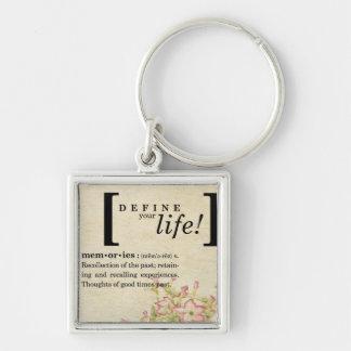 Defina su vida:  Memorias Llavero Cuadrado Plateado