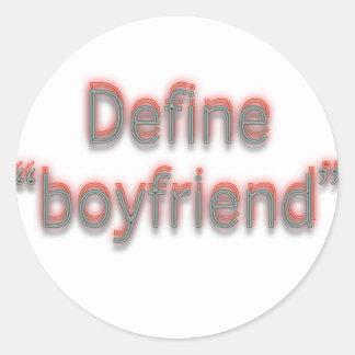 """Define """"boyfriend""""  Double colors Classic Round Sticker"""