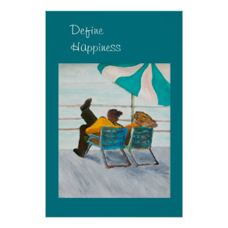 Define Happiness, Couple on a Beach Deck Poster