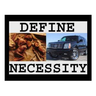 define necessity postcard