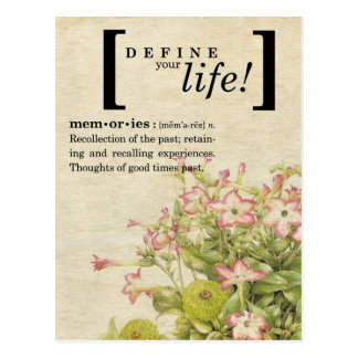 Define Your Life:  Memories Postcard