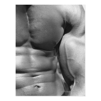 Defined abdomen and bicep postcard