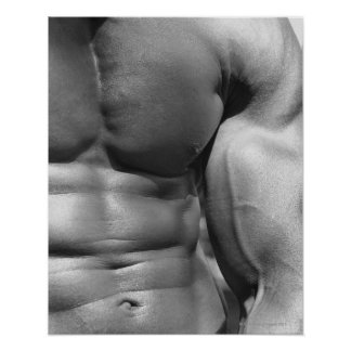 Defined abdomen and bicep poster
