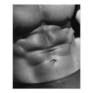 Defined abdomen of bodybuilder poster