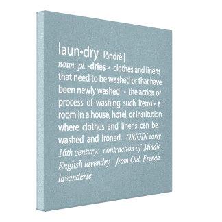 Definición de azul del lavadero y blanco quebradiz lienzo envuelto para galerías