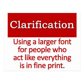 Definición de la clarificación tarjeta postal