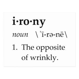 Definición de la ironía el contrario de arrugado tarjetas postales