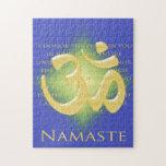 Definición de Namaste con símbolo de OM - en azul Puzzle