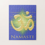 Definición de Namaste con símbolo de OM - en azul Rompecabezas
