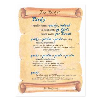 Definición de Pardy del té Tarjetas Postales