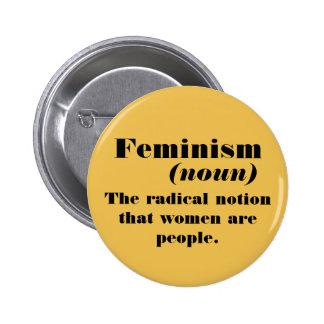 Definición del feminismo pin redondo de 2 pulgadas