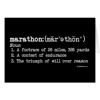 Definición del maratón tarjeta de felicitación