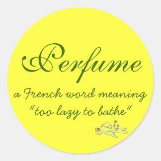 Definición del perfume etiqueta redonda