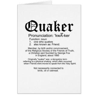 Definición del Quaker Tarjeta De Felicitación