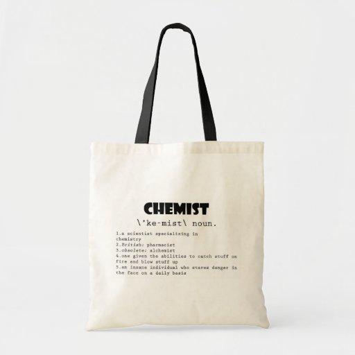 Definición del químico bolsas lienzo