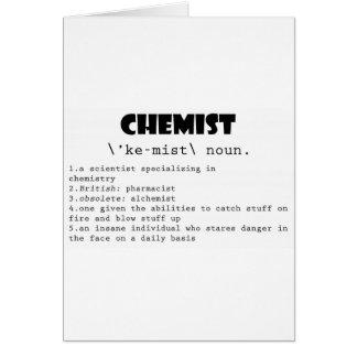 Definición del químico tarjeta de felicitación