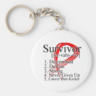 Definición del superviviente - cáncer de sangre llavero redondo tipo pin