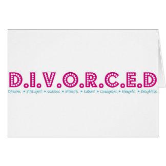 Definición femenina del divorcio tarjeta de felicitación
