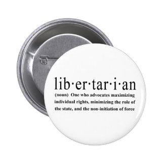 Definición libertaria pin redondo de 2 pulgadas