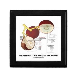 Definiendo el origen del vino baya de la uva de v caja de joyas