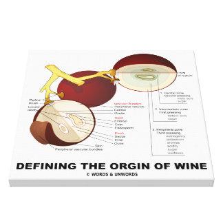 Definiendo el origen del vino (baya de la uva de v impresión en lona estirada