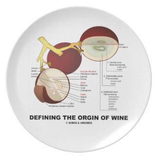 Definiendo el origen del vino baya de la uva de v platos para fiestas