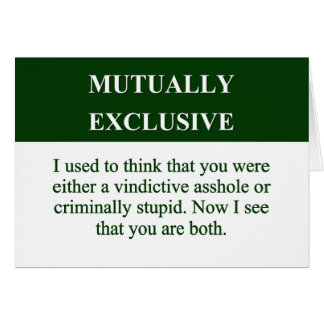 Defining the Meaning of Mutually Exclusive (2) Stationery Note Card
