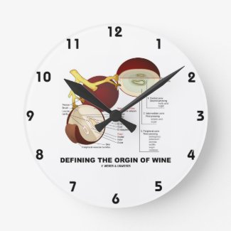Defining The Origin Of Wine (Wine Grape Berry) Wall Clocks