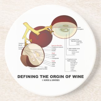 Defining The Origin Of Wine (Wine Grape Berry) Beverage Coasters