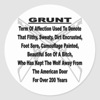 Defining The US Military GRUNT Classic Round Sticker