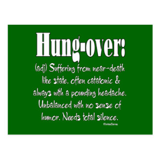 Definition Hung-over Postcard