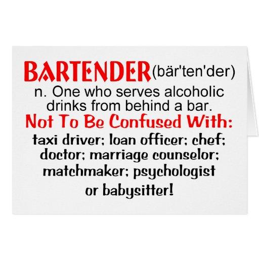 Definition of a Bartender Card