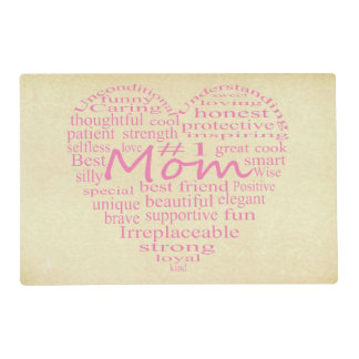 Definition Of A Mother-Heart Outline Laminated Placemat
