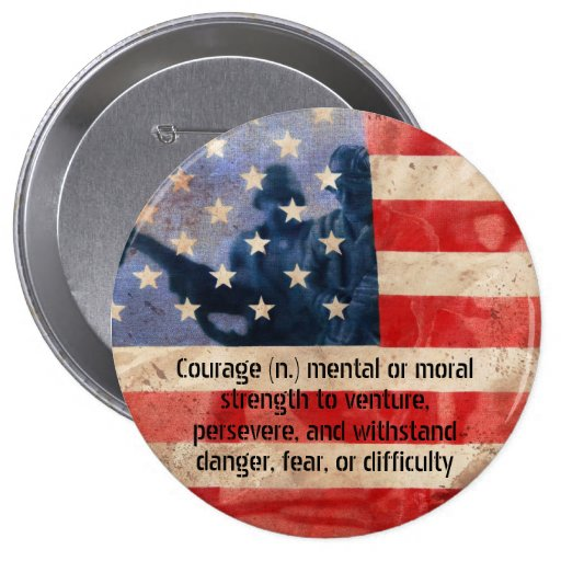 Definition of Courage Army Men Round Button