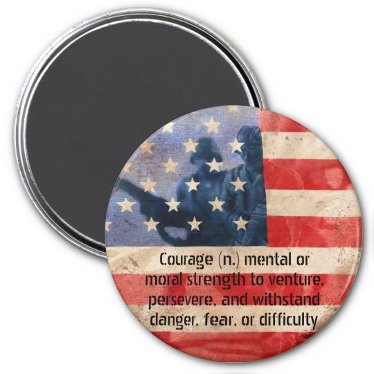 Definition of Courage Army Men Round Magnet