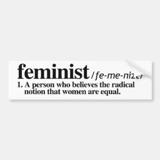 Definition of Feminist - Feminist Bumper Sticker -
