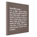 Definition of Laundry Sign in Mocha Brown & White Canvas Print