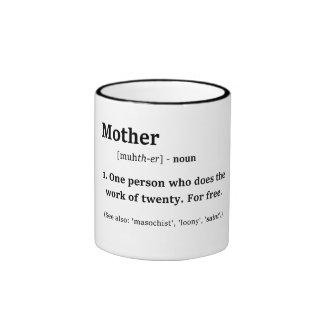 Definition of Mother Funny Humor Black Lettering Ringer Mug