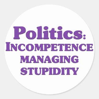 Definition of politics classic round sticker