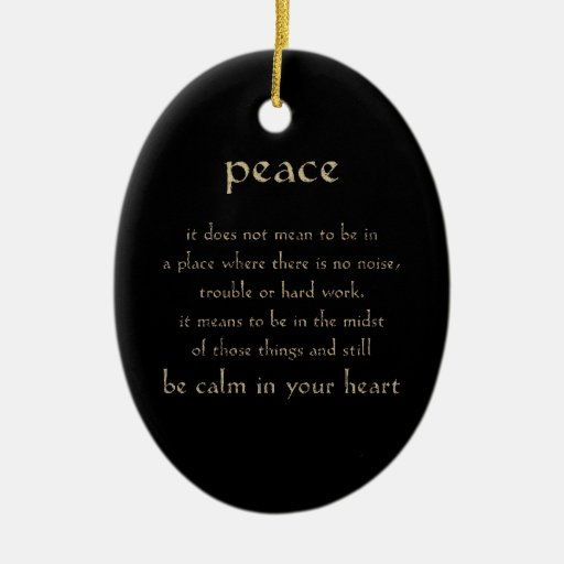 DEFINITION PEACE CALM HEART COMMENTS EXPRESSIONS S Double-Sided OVAL CERAMIC CHRISTMAS ORNAMENT