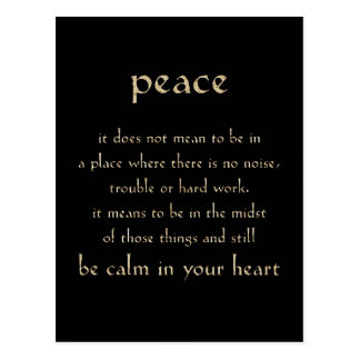 DEFINITION PEACE CALM HEART COMMENTS EXPRESSIONS S POSTCARD